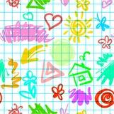 Zartes lustiges nahtloses Muster gezeichnet Lizenzfreie Stockfotos