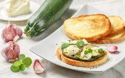 Zartheit bruschetta mit gebratenen oder gebackenen Zucchini, Mozzarellakäse, Knoblauch, Minze und den Gewürzen lizenzfreies stockfoto