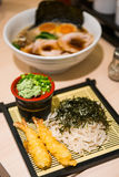 Zaru soba cold noodle japanese style with shrimp tempura Royalty Free Stock Photography