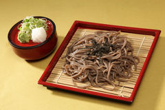 Zaru soba. Japanese noodle cold on bamboo tray stock photos