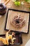 Zaru soba. Noodles with tempura , japanese food royalty free stock images