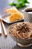 Zaru soba. Noodles with tempura , japanese food royalty free stock image