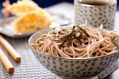 Zaru soba. Noodles with tempura , japanese food stock image