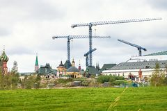Zaryadye park and Construction cranes in Moscow stock images
