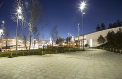 Zaryadye Park at Night -- urban park located near Red Square in Moscow, Russia. Stock Image