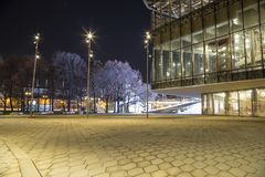 Zaryadye Park at Night -- urban park located near Red Square in Moscow, Russia. Royalty Free Stock Photography