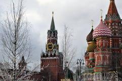 In Zaryadye-park tegen de achtergrond van St de Kathedraal van het Basilicum en de Spasskaya-toren van het Kremlin royalty-vrije stock foto