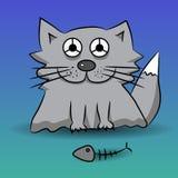 zarys czarnego kota, ryby ilustracyjny zredukowany white wektor Obrazy Stock