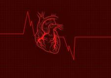 zarys serca czerwone. Obraz Stock