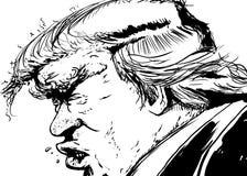 Zarysowany Bocznego widoku Donald atut ilustracja wektor