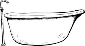 Zarysowany boczny widok na kąpielowej balii ilustracja wektor
