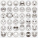 Zarysowany czarny i biały Emoji ustawia 2 Obraz Royalty Free