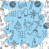 Zarysowany zima sezonu pogody ikon błękita muśnięcia uderzenie ilustracji