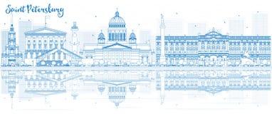 Zarysowywa świętego Petersburg linię horyzontu z błękitnymi budynkami i odbija royalty ilustracja