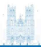 Zarysowywa budynek katedra St Michael i St Gudula wewnątrz Obraz Royalty Free