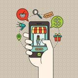 Zarysowywa handel elektroniczny ikony i mądrze telefon w ręce z cyfrowym marketingowym pojęciem Fotografia Stock
