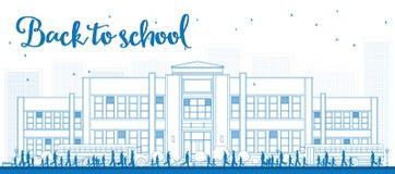 Zarysowywa krajobraz z autobusem szkolnym, budynkiem szkoły i ludźmi, Zdjęcia Royalty Free