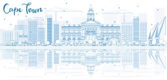 Zarysowywa przylądek grodzką linię horyzontu z błękitnym odbiciem i budynkami royalty ilustracja
