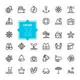 Zarysowywa sieci ikony ustawiać - podróż, być na wakacjach, pływa statkiem, Zdjęcia Royalty Free