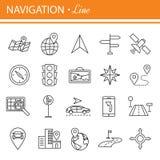 Zarysowywa sieci ikony ustawiać - nawigacja, lokacja, transport Zdjęcia Royalty Free