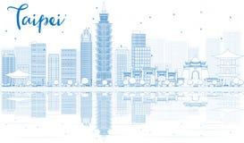 Zarysowywa Taipei linię horyzontu z błękitnymi odbiciami i budynkami ilustracja wektor