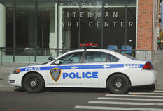 Zarząd Portu Nowy Jork Nowy - dżersejowy samochód providing ochronę w world trade center terenie fotografia royalty free