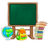 Zarząd szkoły z książkowym plecakiem i kulą ziemską Zdjęcia Stock