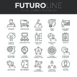 Zarządzania Przedsiębiorstwem Futuro linii ikony Ustawiać Obraz Stock