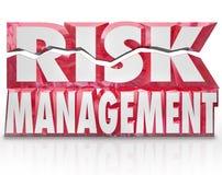 Zarządzania Ryzykiem 3d słowa Zmniejsza niebezpieczeństwo Bagatelizują odpowiedzialność Zdjęcie Stock