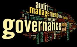 Zarządzanie i zgodność w słowo etykietki chmurze Fotografia Stock