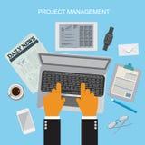 Zarządzanie projektem, płaska wektorowa ilustracja Obrazy Stock