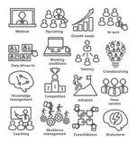 Zarządzanie przedsiębiorstwem ikony w kreskowym stylu Paczka 30 royalty ilustracja
