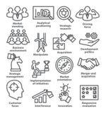 Zarządzanie przedsiębiorstwem ikony w kreskowym stylu Paczka 27 ilustracja wektor