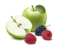 Zarzamora verde 2 de la frambuesa de la manzana aislada en el fondo blanco Imagenes de archivo