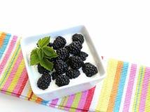 Zarzamoras en el yogur Imagen de archivo libre de regalías
