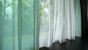 Zasłona obok okno zdjęcie wideo
