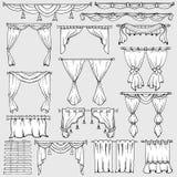 Zasłony, nadokienni cienie i draperia wektoru ikony, ilustracji
