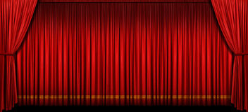 zasłony scena wielka czerwona Obrazy Royalty Free