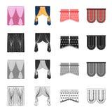 Zasłony, stora, światło i inna sieci ikona w kreskówka stylu, Fałdy, tkaniny, żaluzj ikony w ustalonej kolekci royalty ilustracja