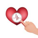 Zasadniczy znaki Magnifier i serce ilustracja wektor