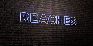 ZASIĘG - Realistyczny Neonowy znak na ściana z cegieł tle - 3D odpłacający się królewskość bezpłatny akcyjny wizerunek Obraz Royalty Free