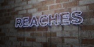 ZASIĘG - Rozjarzony Neonowy znak na kamieniarki ścianie - 3D odpłacająca się królewskości bezpłatna akcyjna ilustracja Obrazy Royalty Free