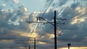 Zasięrzutne elektryczność linie, władza druty, Elektrycznego pociągu poręcza kable zdjęcie wideo
