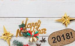 Zasięrzutnego widoku powietrzny wizerunek zakończenie w górę domowej roboty szczęśliwego nowego roku 2018 ornamentu Obrazy Stock