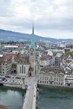 zasięrzutny widok Zurich Obraz Royalty Free