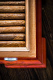 Zasięrzutny widok na humidor z cygarami Fotografia Stock