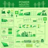 Zasila przemysłu energetycznego infographic, ustawia element, elektryczni systemy, Zdjęcia Stock