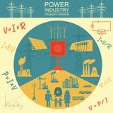 Zasila przemysłu energetycznego infographic, ustawia element, elektryczni systemy, Obraz Stock