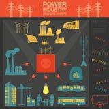 Zasila przemysłu energetycznego infographic, ustawia element, elektryczni systemy, Fotografia Royalty Free