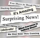 Zaskakujący Szokujący Niewiarygodni nagłówki Rozdzierająca wiadomości Drzejąca wiadomość ilustracja wektor